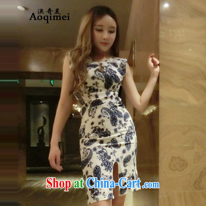o, Chi Mei (Aoqimei) 2015 new retro name Yuan stamp duty on the truck cheongsam dress Q 6028 photo color M