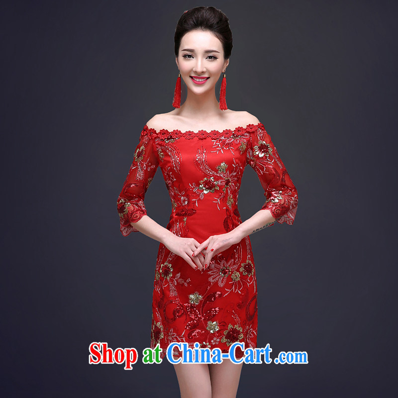 Service was good in spring 2015 new bride toast serving red wedding dresses short summer dresses Chinese female Red 2 XL