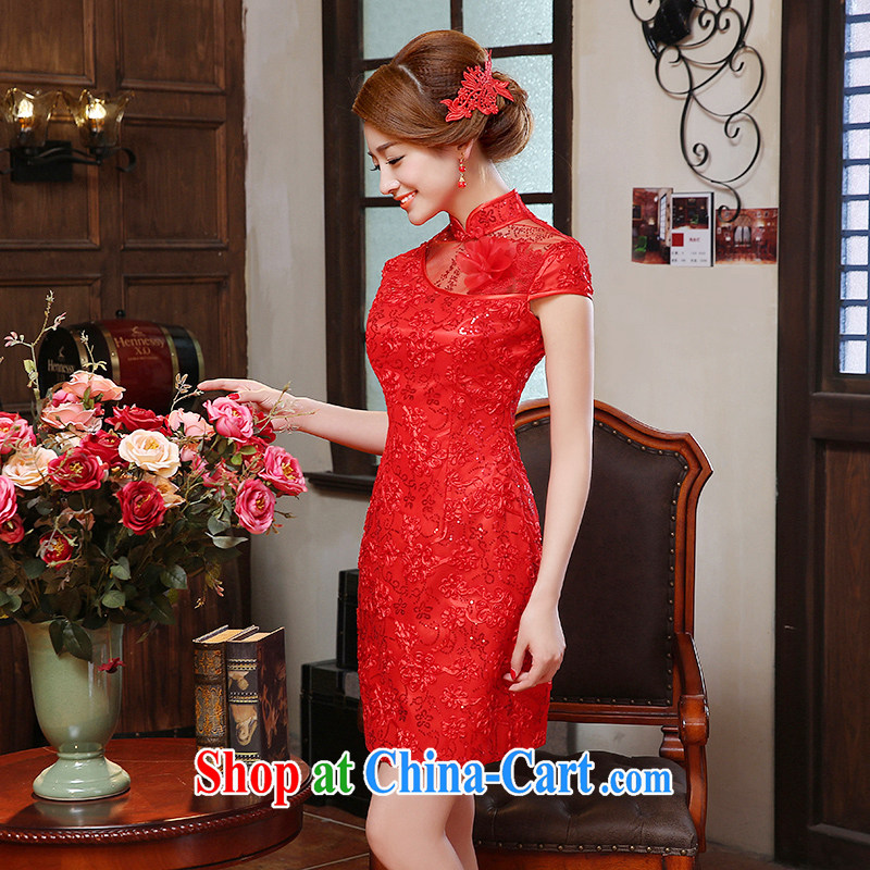 2015 new spring and summer red improved short dresses, lace Evening Dress bride wedding toast serving Red Red XXL