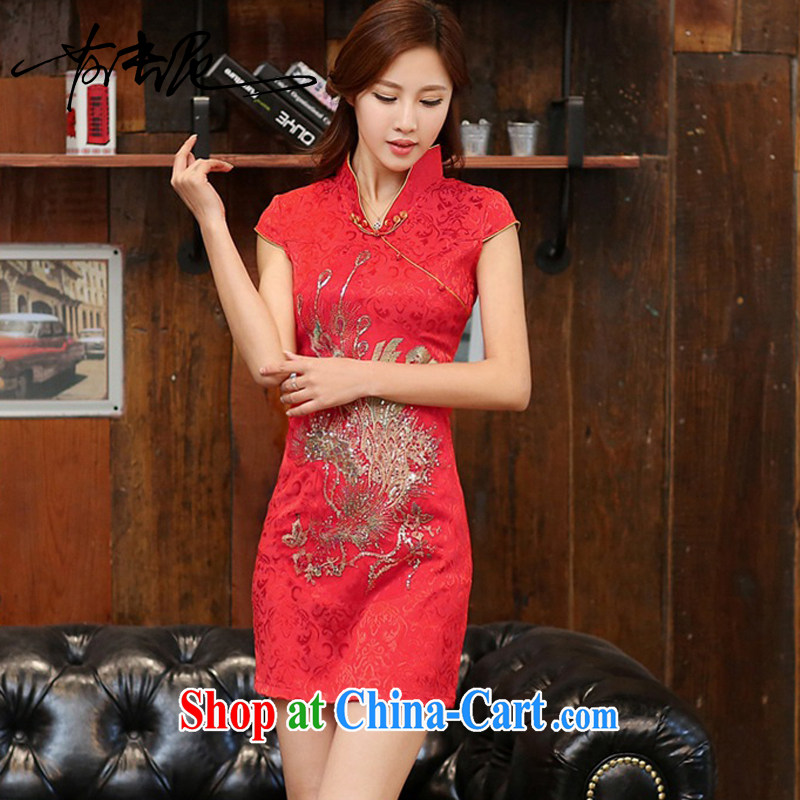 2015 new daily improved cheongsam shows the tea-package and short cheongsam dress dress women 983 red the Golden Phoenix XXL
