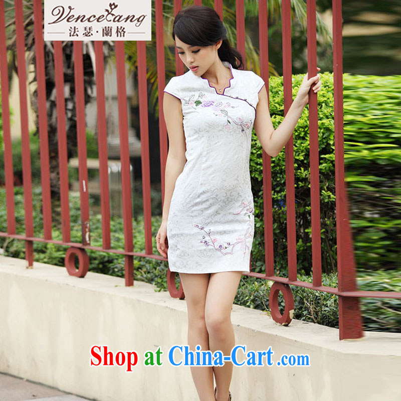 The Arthur Balaam, 2015 cheongsam dress summer summer new stylish short retro stamp cultivating cheongsam dress dress white XL