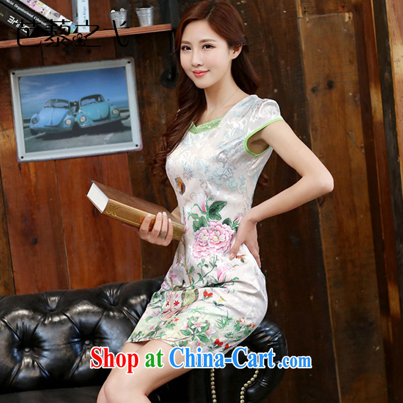 2015 new suit Daily High jacquard cotton robes spring and summer retro fashion beauty dresses dresses girls 982 Dan Feng cited butterfly XXL