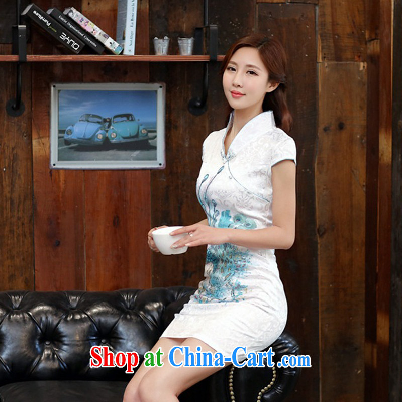 2015 new daily improved cheongsam shows the tea-package and short cheongsam dress women dress 983 Blue on white Phoenix S