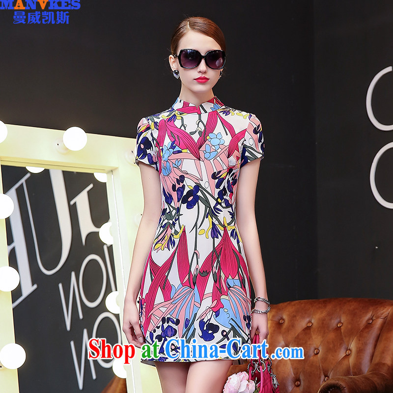 Cayman, Paul Casey _MANVKES_ 2015 spring and summer high-end European and American style dress retro improved cheongsam stylish stamp beauty package and arts picture color S