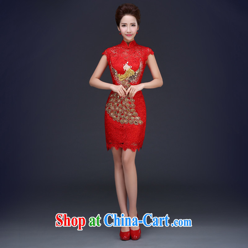 Cheng Kejie MIA toast serving red marriage bridal dresses 2015 new spring and summer beauty length dresses, red short XXXL