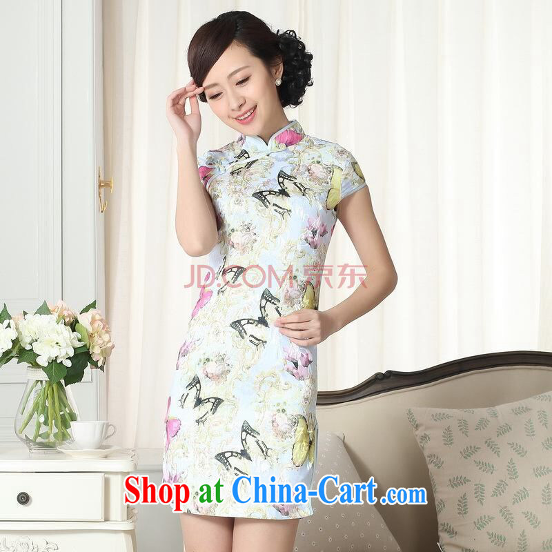 The broadband new summer elegance Chinese qipao Chinese graphics thin short cheongsam picture color 2 XL