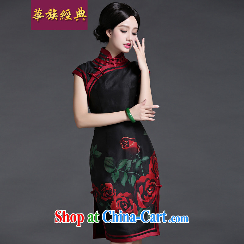 China classic spring and summer new upscale heavy silk dresses, dresses daily retro improved temperament black background XXL