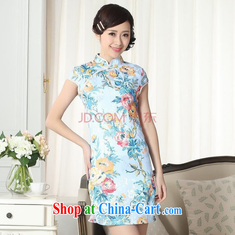 The broadband jacquard cotton daily Chinese qipao cultivating short cheongsam picture color 2 XL