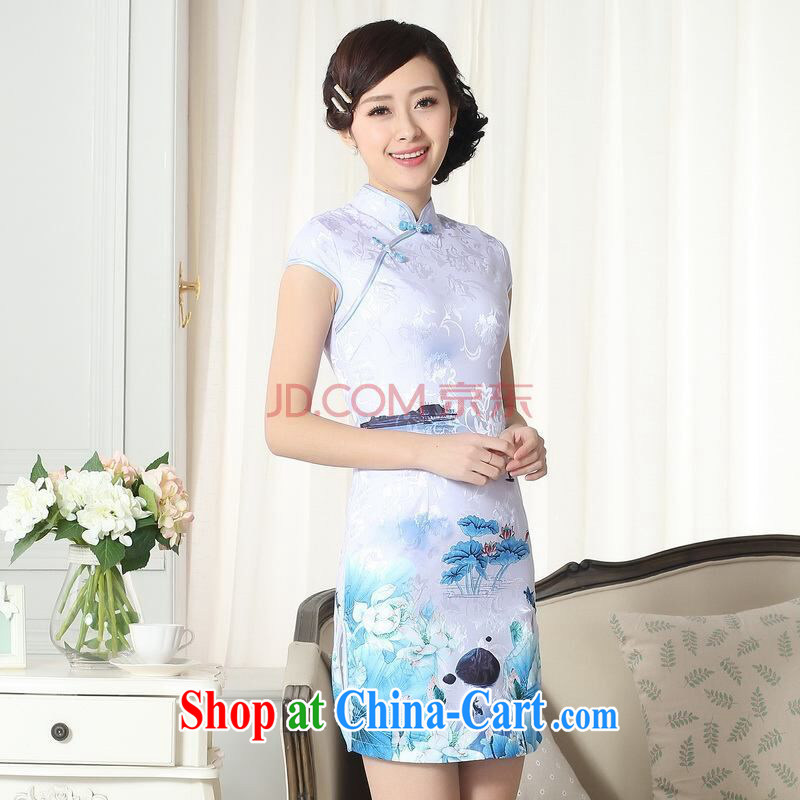 The broadband new summer elegance Chinese qipao,Chinese graphics thin short cheongsam picture color 2 XL, the bandwidth, and shopping on the Internet