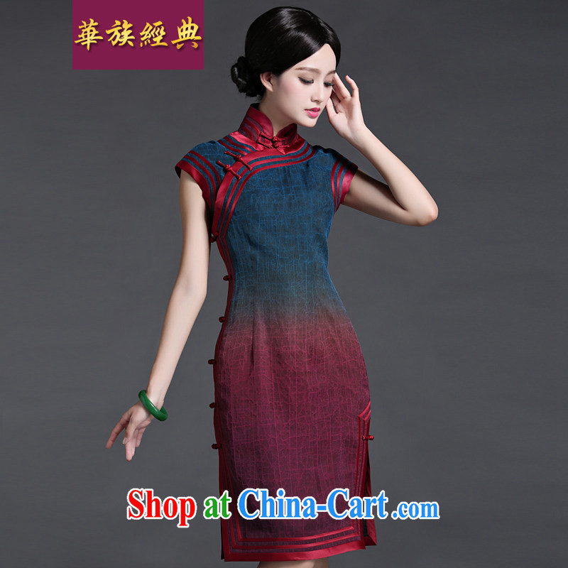 China classic upscale tortoises silk incense cloud yarn summer Chinese qipao dresses, daily retro style flower XXL