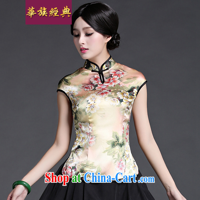 China classic upscale heavy silk Chinese, short-sleeved T-shirt spring and summer Chinese improved Han-Chinese style suit M