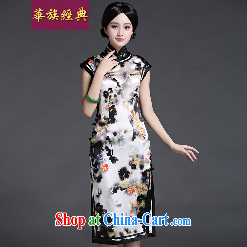 China classic heavy silk sauna Silk Cheongsam dress 2015 new summer Ms. aura antique floral art XXL