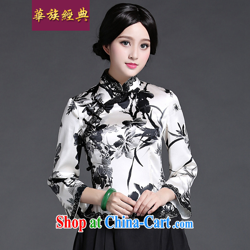 China classic heavy silk, Chinese antique Chinese, short-sleeved T-shirt outfit spring and summer with improved Han-black-and-white XL