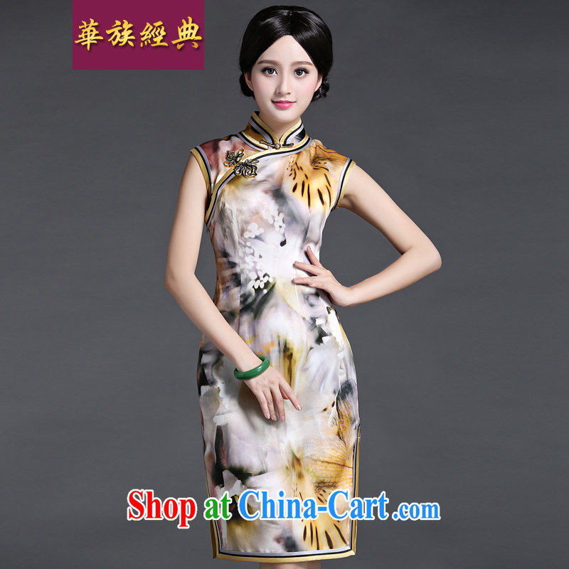China's Ethnic classic 2015 new, modern and Ms. cheongsam dress spring and summer short-sleeved beauty graphics thin improved elegant floral XXXL