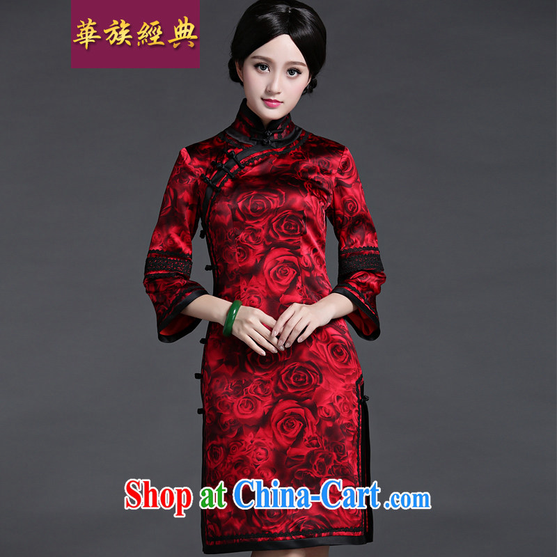 China classic upscale heavy silk bows clothing spring and summer Chinese wedding dresses dresses dresses retro style floral XXXL