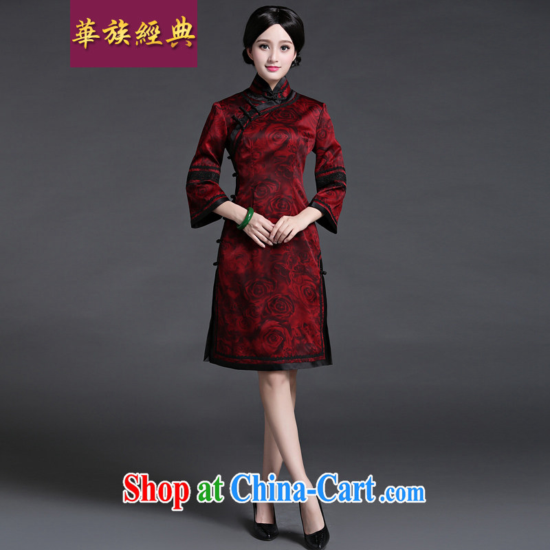 China classic 2015 new spring and summer long-sleeved stylish silk incense cloud yarn, improved daily cheongsam dress-suit XXL