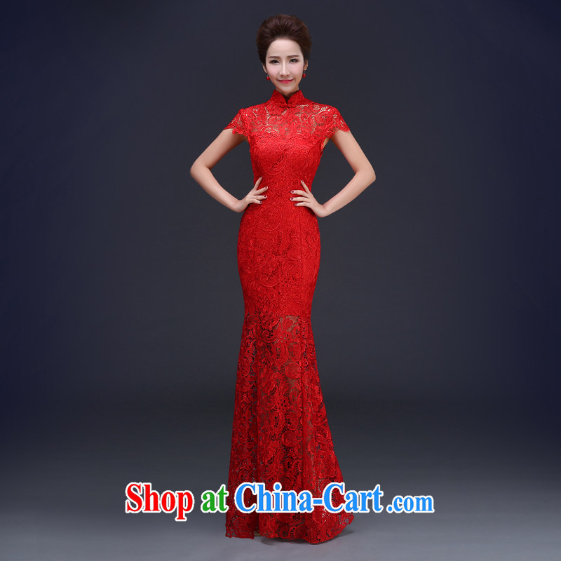 Jie MIA red lace long crowsfoot antique Chinese bridal dresses wedding dress uniform toast spring evening dress girls dresses red XXXL