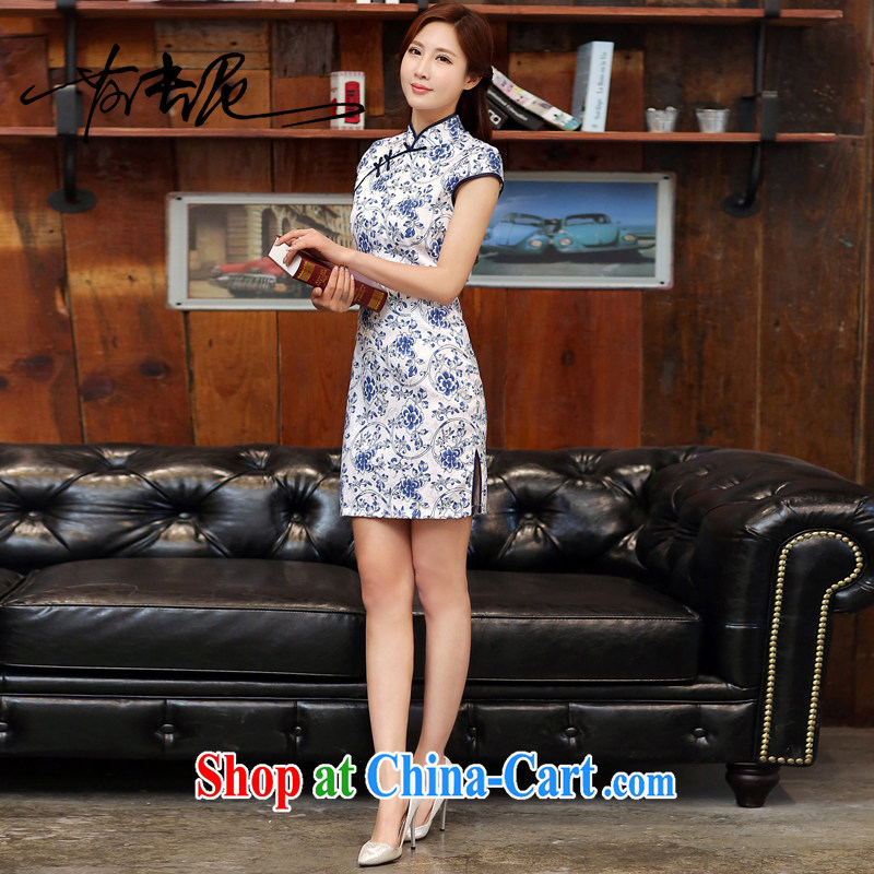 Blue and white porcelain cheongsam dress spring 2015 new improved stylish daily short cheongsam dress beauty package and summer women 988 white blue XL