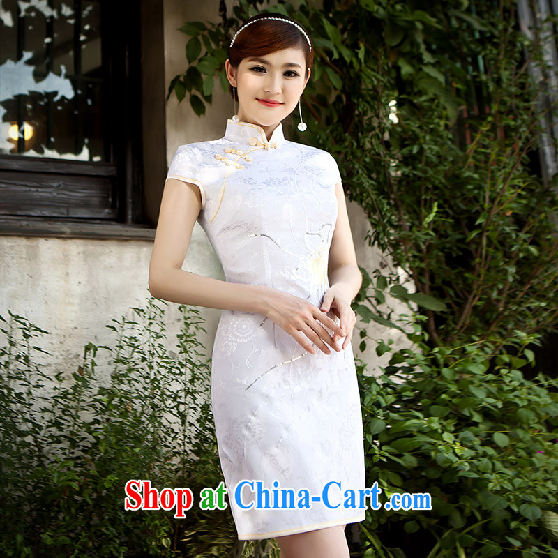2015 spring and summer lace cheongsam dress, Retro improved daily fashion cheongsam dress girl picture color XS