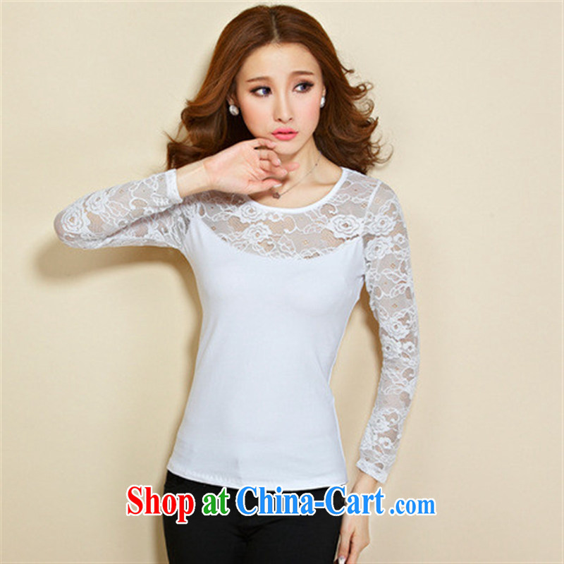 Qin Qing store FOREIGN TRADE 2015 spring new European site female beauty cotton stitching lace long-sleeved solid T shirt female gray XXXL