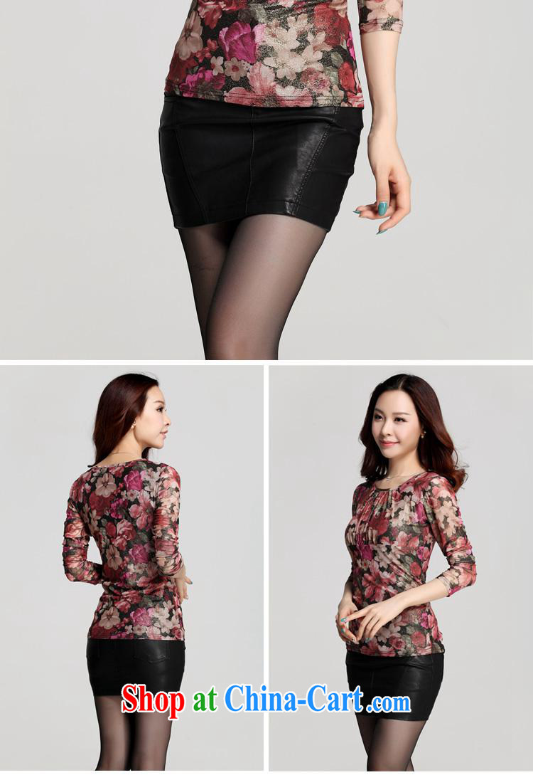 Qin Qing store Autumn Trade new cultivation, small floral Web yarn high-end printing and dyeing wrinkled long-sleeved shirt T solid T-shirt deep purple XXXL pictures, price, brand platters! Elections are good character, the national distribution, so why buy now enjoy more preferential! Health