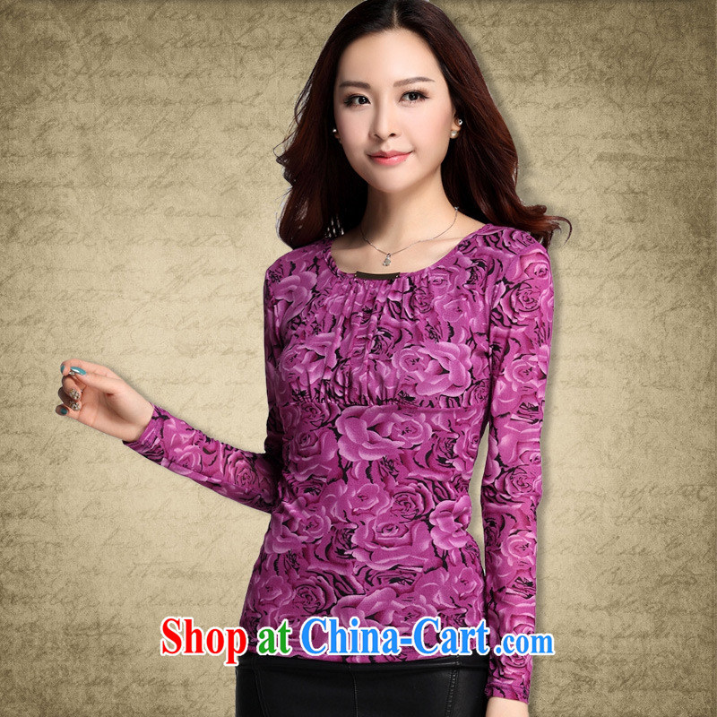 Qin Qing store Autumn Trade new cultivation, small floral Web yarn high-end printing and dyeing wrinkled long-sleeved shirt T solid T-shirt deep purple XXXL
