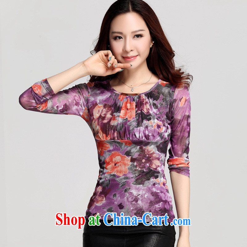 Qin Qing store Autumn Trade new cultivation, small floral Web yarn high-end printing and dyeing wrinkled long-sleeved shirt T solid T-shirt deep purple XXXL, GENYARD, shopping on the Internet