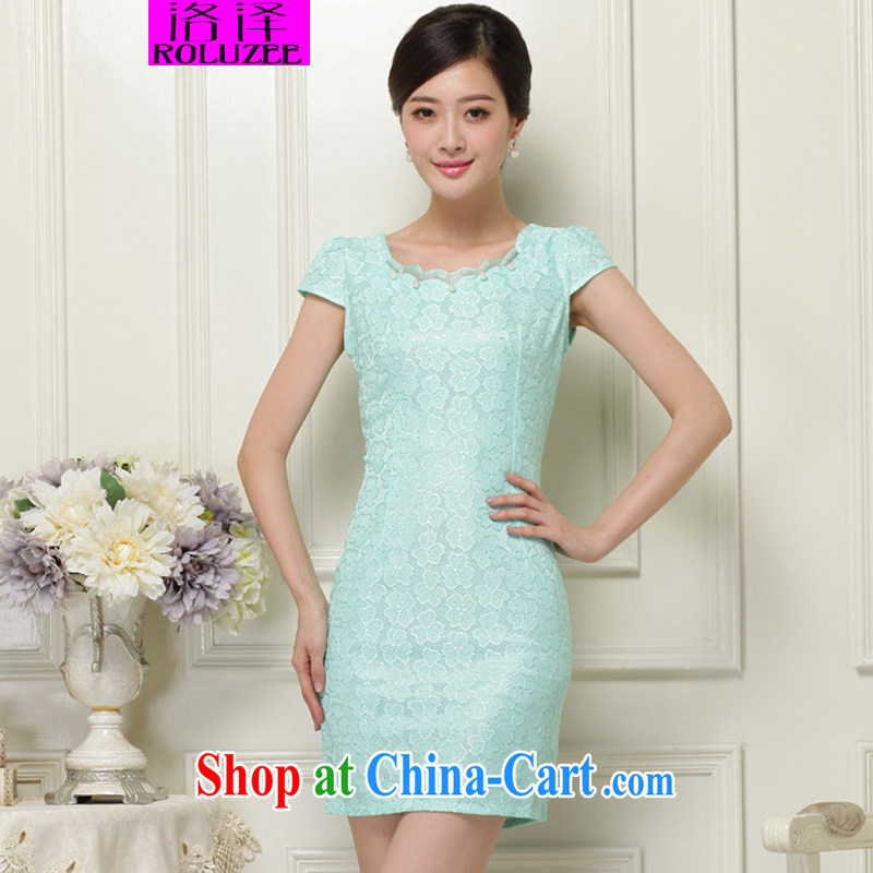 Los Angeles Summer 2015 new stylish and elegant lace short, cultivating cheongsam dress female Green XL