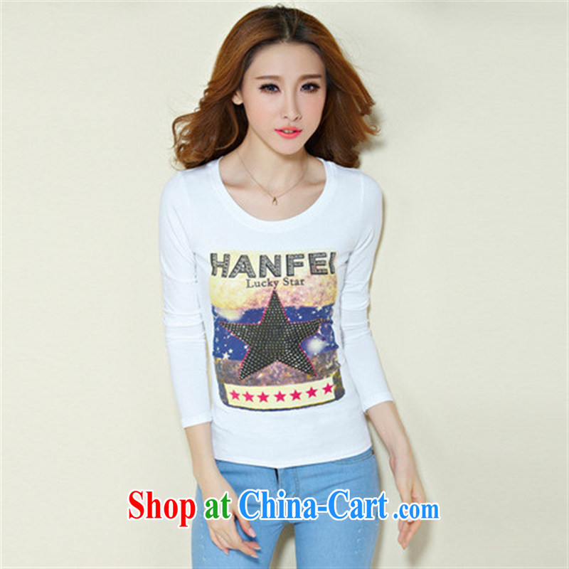 Qin Qing store FOREIGN TRADE 2015 spring new European site women hot stamp duty drilling long-sleeved cotton solid T-shirts female black XXXL