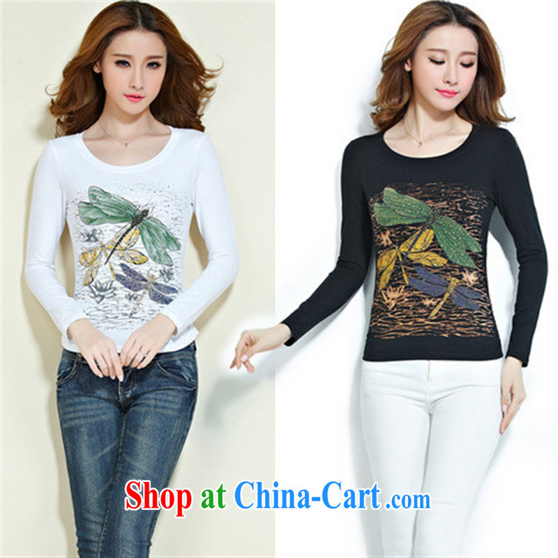 Qin Qing store FOREIGN TRADE 2015 spring new stamp hot drill ethnic wind cotton long-sleeved solid T shirt female black XXXL