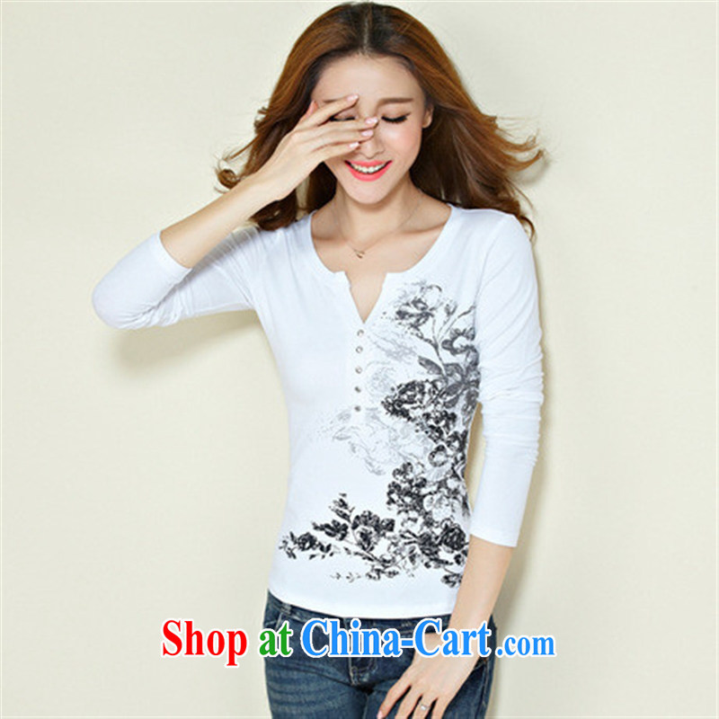 Qin Qing store FOREIGN TRADE 2015 spring new stamp duty hot drill cultivating V collar ethnic wind long-sleeved solid T shirt female white XXXL