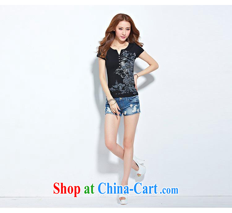 Qin Qing store 2015 trade summer new European site female hot stamp duty drill cotton short-sleeved T shirt female black XXXL pictures, price, brand platters! Elections are good character, the national distribution, so why buy now enjoy more preferential! Health