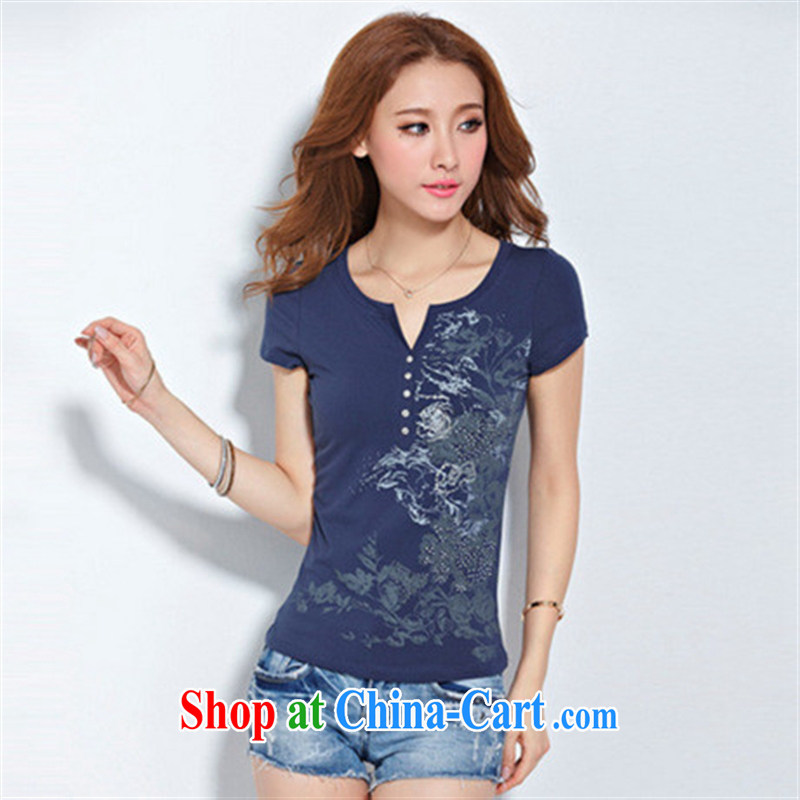 Deloitte Touche Tohmatsu sunny store 2015 foreign trade summer new European site female hot stamp duty drill cotton short-sleeved T shirt female black XXXL, GENYARD, shopping on the Internet