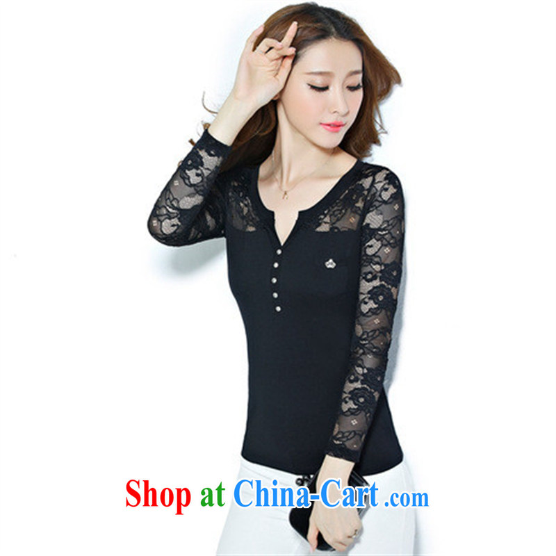 Qin Qing store FOREIGN TRADE 2012 spring new European site female lace stitching cotton V collar long-sleeved solid T shirt female gray XXXL