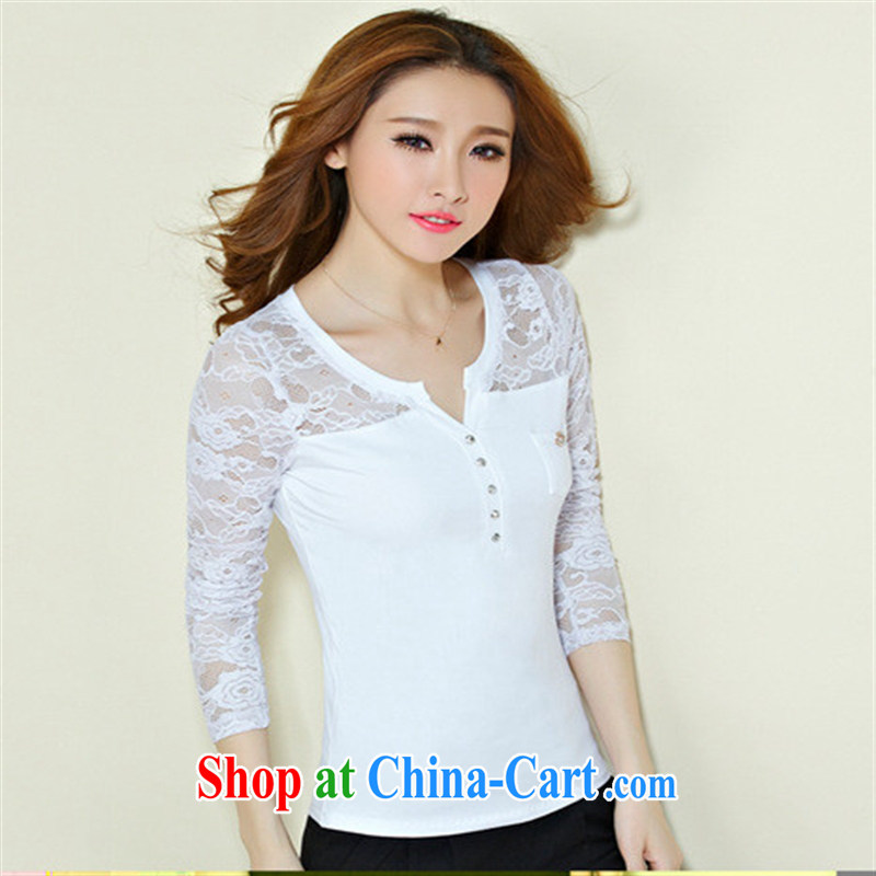 Qin Qing store 2012 foreign trade and the new European site female lace stitching cotton V collar long-sleeved solid T shirt female gray XXXL, GENYARD, shopping on the Internet