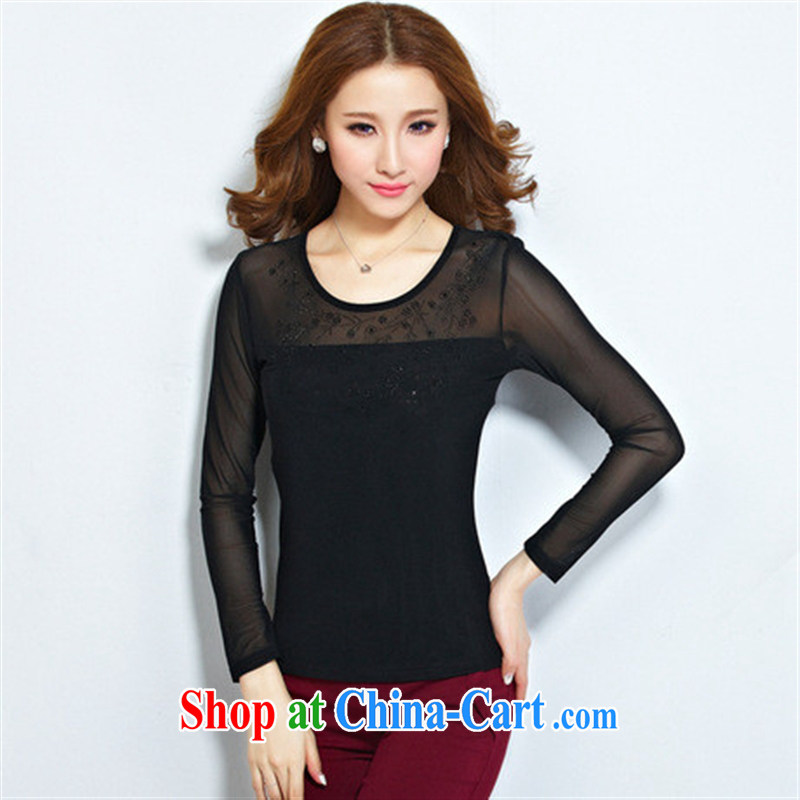 Qin Qing store 2015 foreign trade and the new European and American female inserts drill Web yarn stitching lace long-sleeved solid T shirt female Po Lan XXL