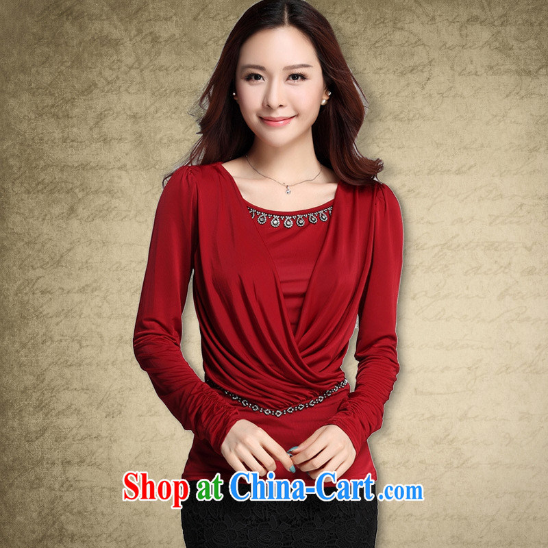 Deloitte Touche Tohmatsu store fine foreign trade the European site with autumn new graphics thin large, solid color cultivating long-sleeved T-shirt solid T-shirt girls maroon XXXL