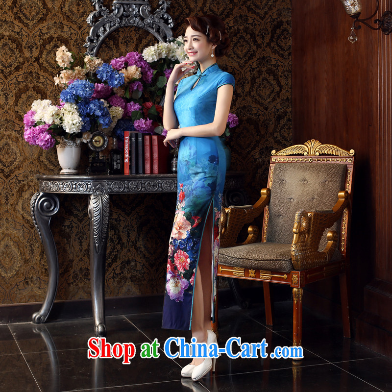 Su Wu edge 2015 new retro Beauty Fashion improved long cheongsam spring and summer daily outfit video thin dresses Lake blue M