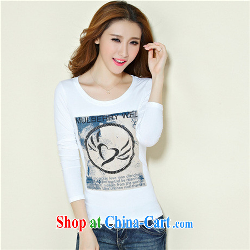 Qin Qing store FOREIGN TRADE 2015 spring new European site women hot stamp duty drilling solid cultivation cotton T shirt female black XXXL