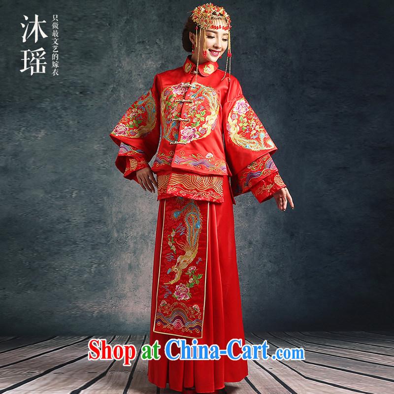 Mu Yao Chinese bows. Su-wo service 2-Piece long-sleeved long Chinese dragon costume dramas of marriages wedding-soo and the waist is the pregnant women through 1131 - 1 upgrade XS brassieres 82 CM
