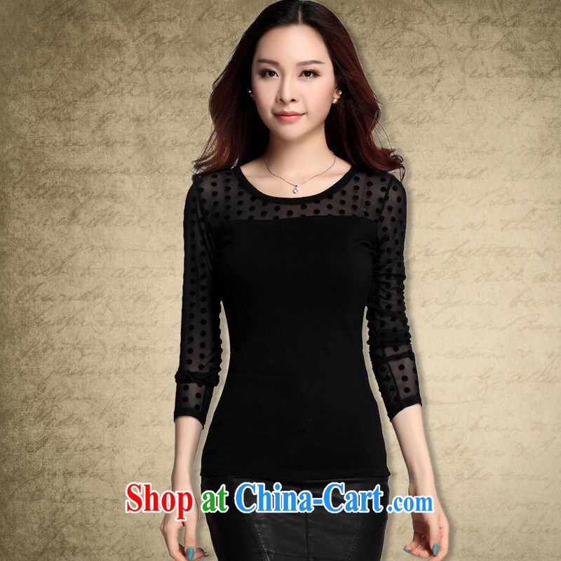 Qin Qing store foreign trade the European site autumn is new, take the web by cultivating black round-collar long-sleeved T-shirt solid female black point XXXL