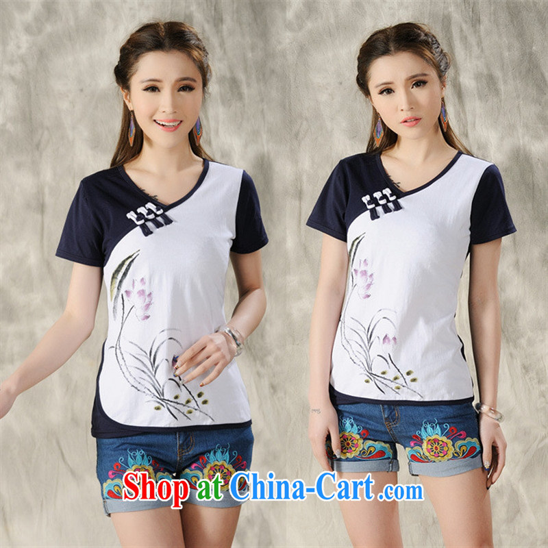 Ya-ting store X 8705 national air-girl with short-sleeved shirt T female literature and art nouveau V for China wind solid shirt white 2XL