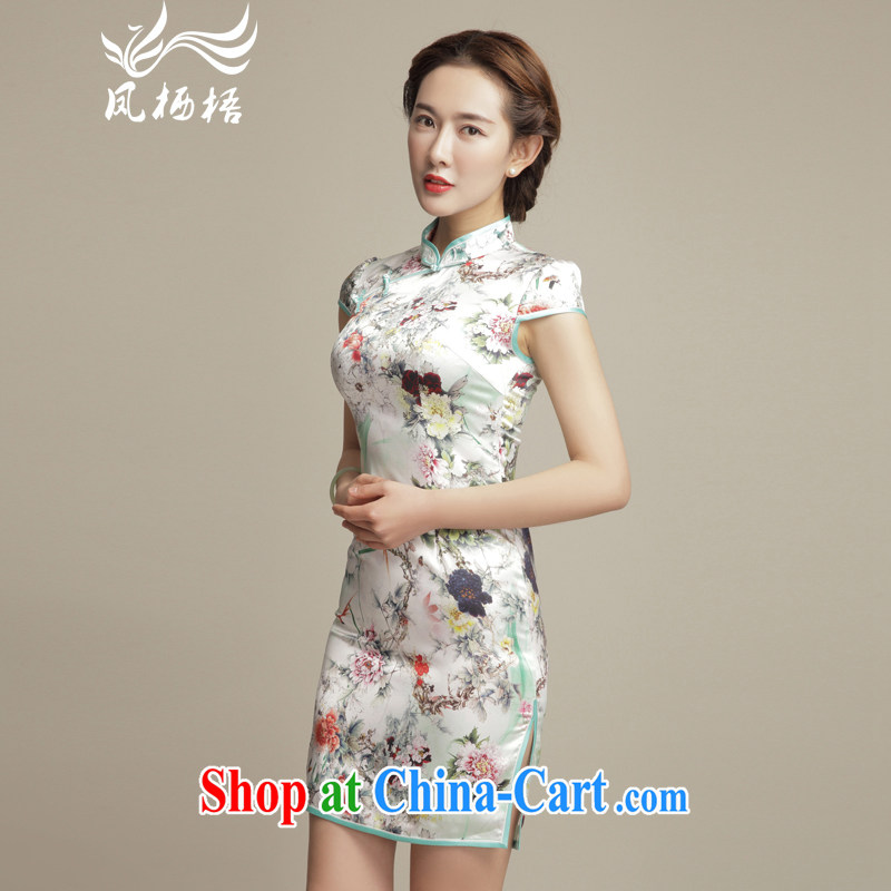 Bong-amphibious Ori-colored figure skating summer 2015 New Silk Cheongsam retro dos santos aura Silk Cheongsam beauty dresses DQ 1553 fancy M