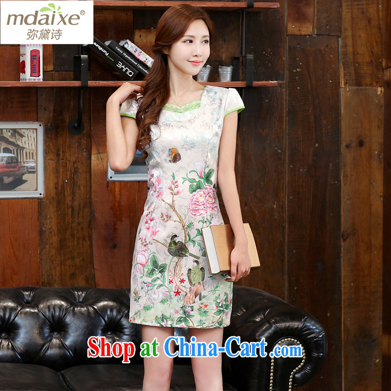 The Diane poems 2015 dresses New Spring Summer white Peony jacquard cotton retro daily improved cheongsam dress temperament female 982 Dan Feng cited butterfly M