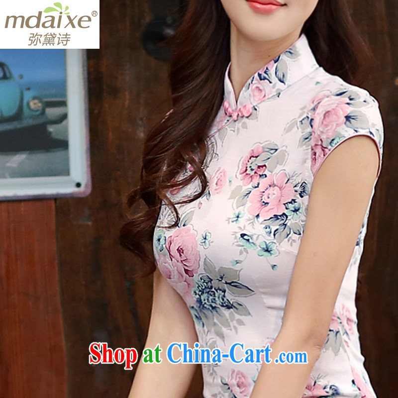 The Estee Lauder poetry 2015 new short-sleeved Ethnic Wind short, daily dresses summer dresses qipao cheongsam improved bridal embroidered cheongsam dress 981 Heavenly Fragrance S