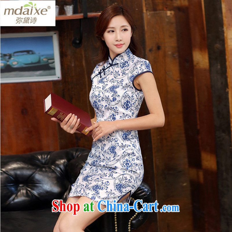 The Diane poetry 2015 new summer dresses blue and white porcelain retro fashion beauty graphics thin cheongsam improved qipao cheongsam dress white blue M