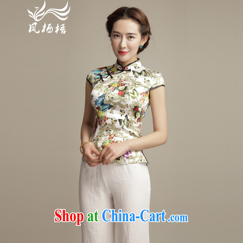 Bong-amphibious Ori-Butterfly Lovers take summer 2015 New Silk Cheongsam shirt Art Nouveau beauty short Chinese T-shirt DQ 1556 fancy M