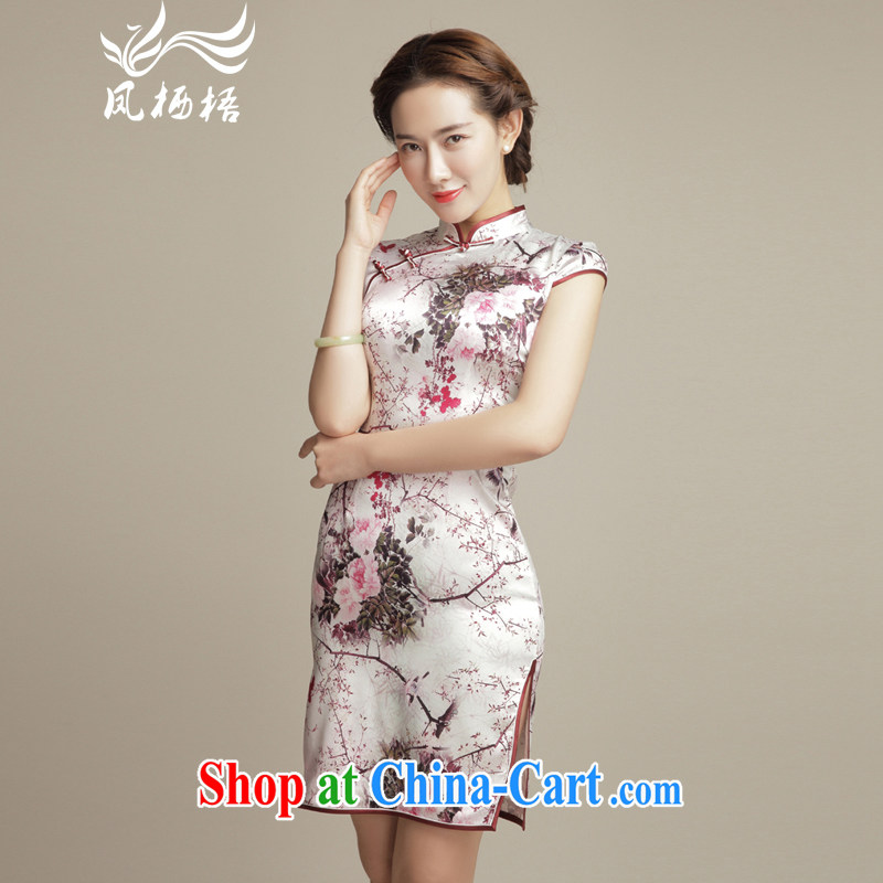 Bong-amphibious Ori-wing Spring Summer 2015 New Silk Cheongsam elegant daily sauna Silk Cheongsam dress DQ 1559 fancy XXL