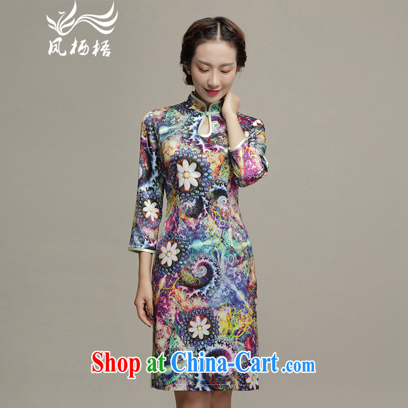 Bong-amphibious Ori-colorful summer 2015 new upscale Silk Cheongsam dress in stylish cuff beauty aura cheongsam dress skirt DQ 1561 fancy XXXL