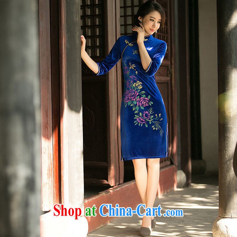 The Yee-Windsor, take new spring loaded 7 cuff Silk Velvet cheongsam dress daily improved retro stamp style cheongsam dress ZA 072 blue S